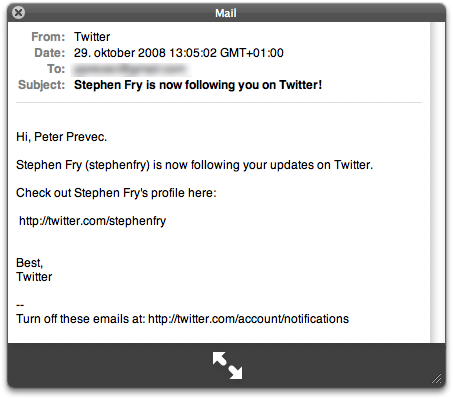 Stephen Fry is now following you on Twitter!