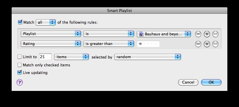 Smart Playlist in iTunes 8